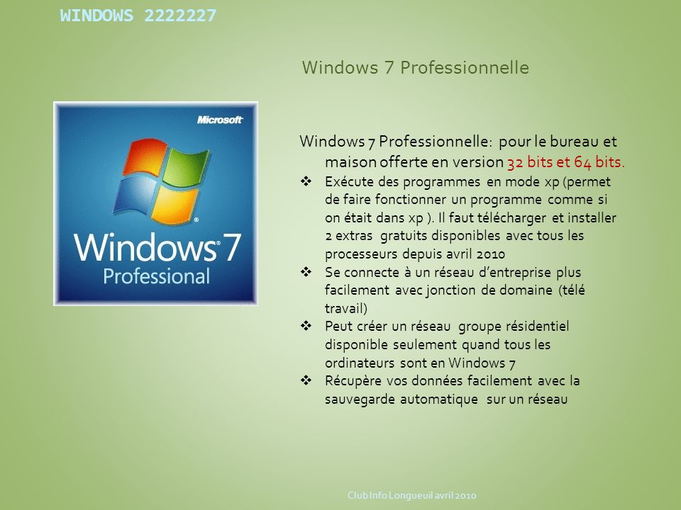 Windows 7 Professionnelle