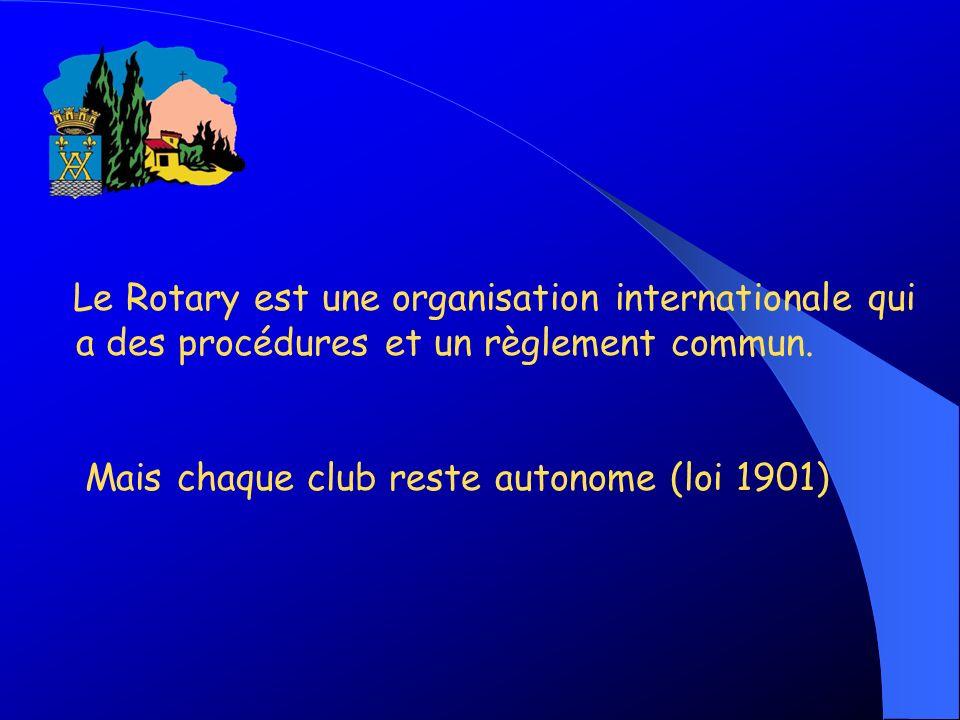 Le Rotary est une organisation internationale qui a des procédures et un règlement commun.
