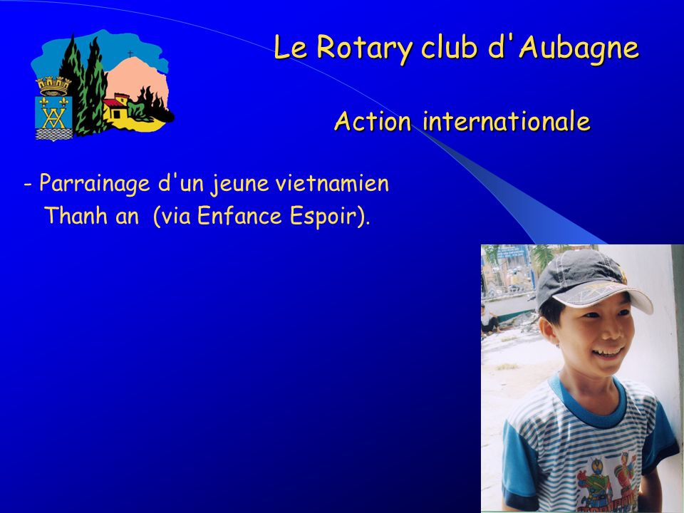 Le Rotary club d Aubagne Action internationale