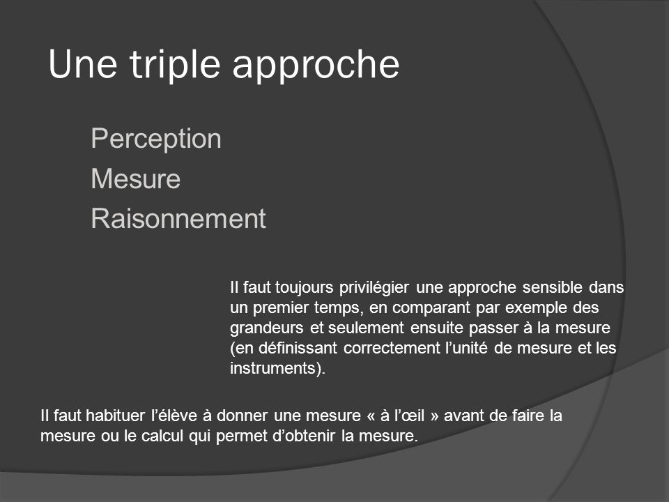Perception Mesure Raisonnement