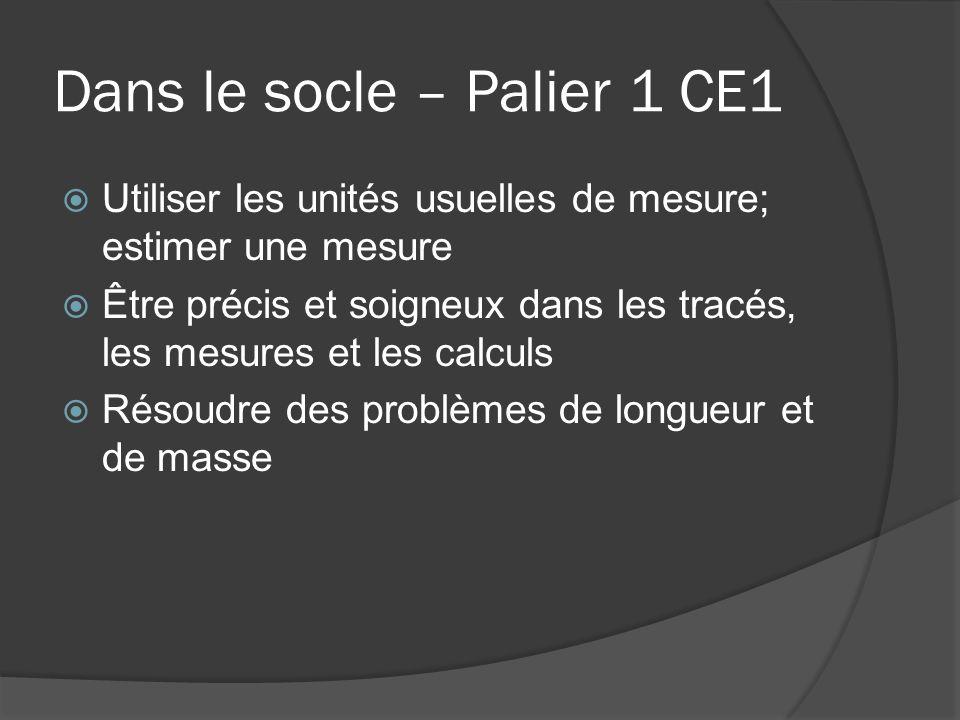 Dans le socle – Palier 1 CE1