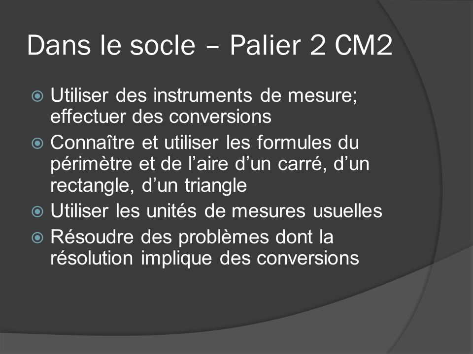 Dans le socle – Palier 2 CM2