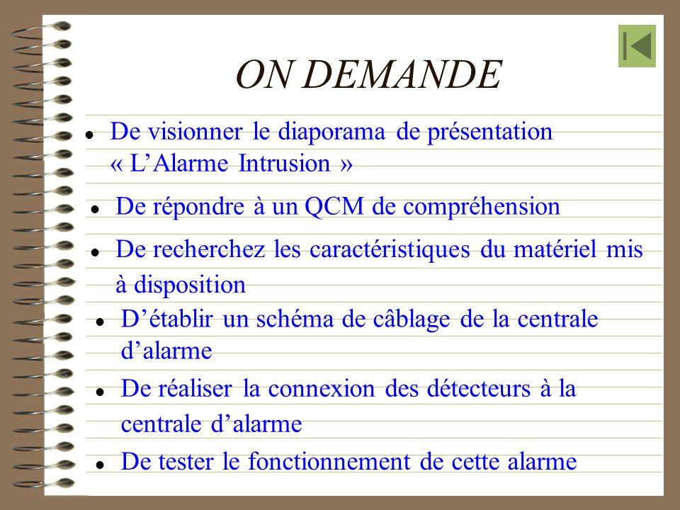 ON DEMANDE  De visionner le diaporama de présentation « L'Alarme Intrusion »  De répondre à un QCM de compréhension.
