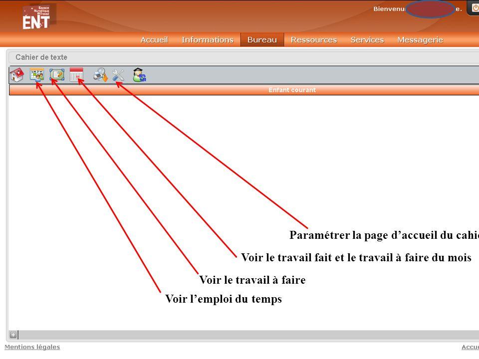 Paramétrer la page d'accueil du cahier de texte