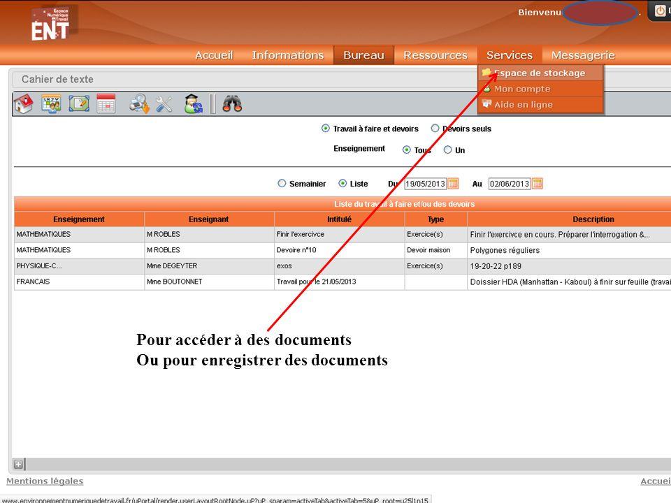 Pour accéder à des documents Ou pour enregistrer des documents