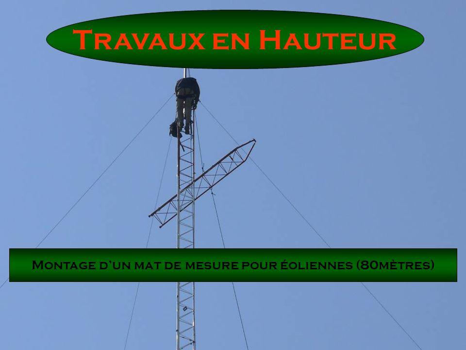 Montage d'un mat de mesure pour éoliennes (80mètres)