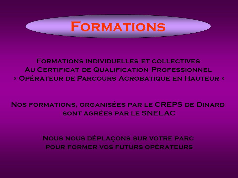 Formations Formations individuelles et collectives