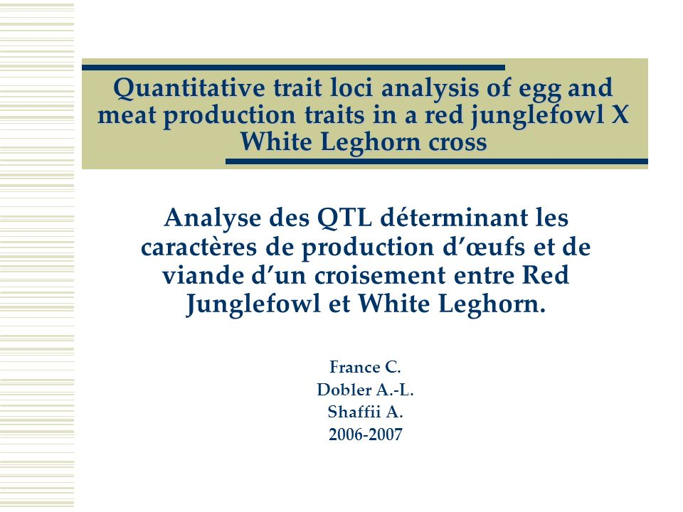 Quantitative trait loci analysis of egg and meat production traits in a red junglefowl X White Leghorn cross