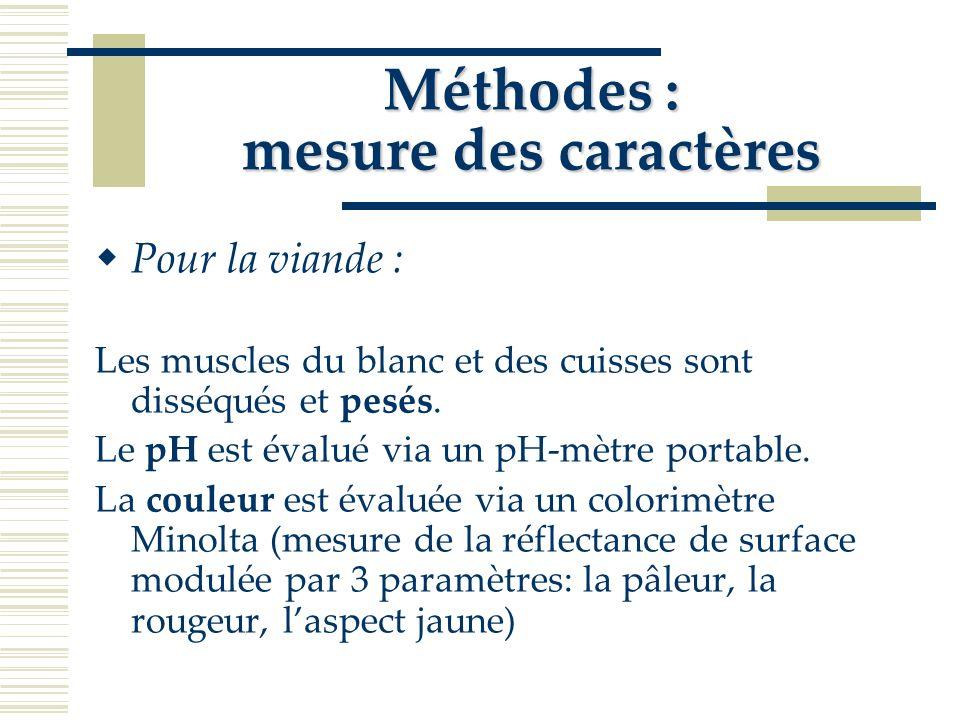 Méthodes : mesure des caractères