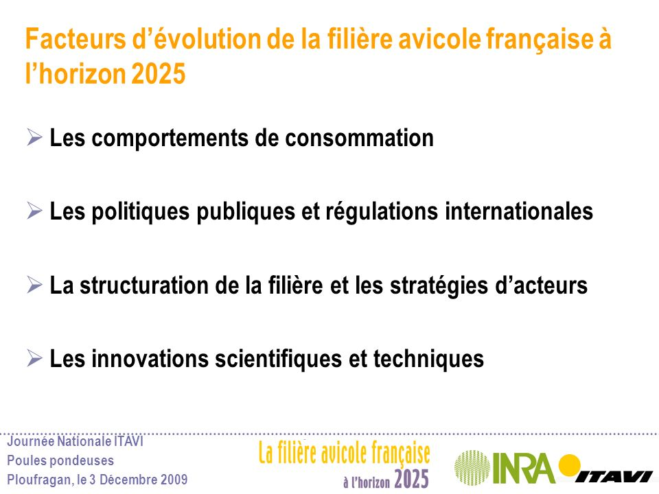 Facteurs d'évolution de la filière avicole française à l'horizon 2025