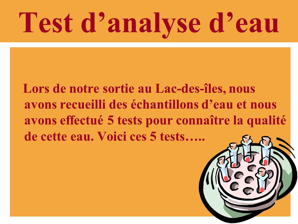 Test d'analyse d'eau