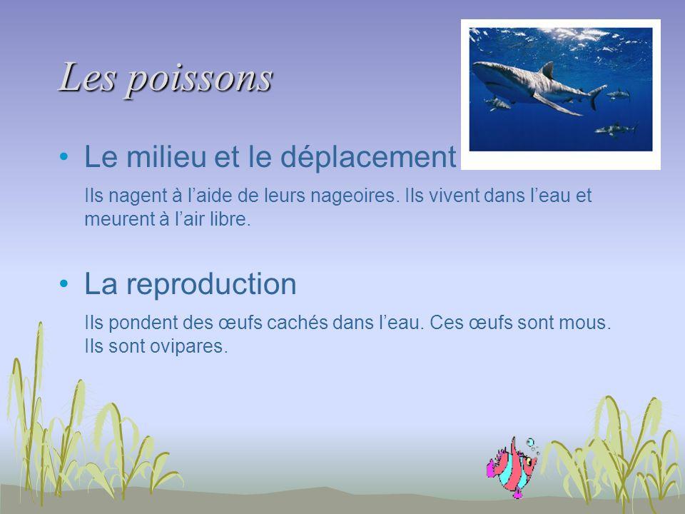 Les poissons Le milieu et le déplacement La reproduction