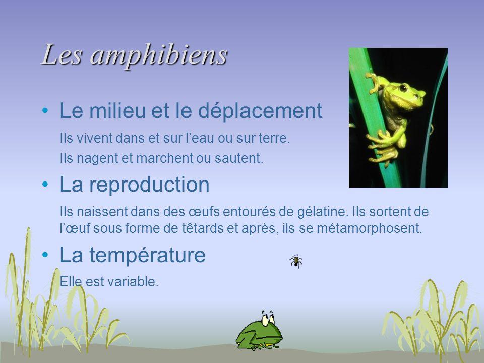 Les amphibiens Le milieu et le déplacement La reproduction