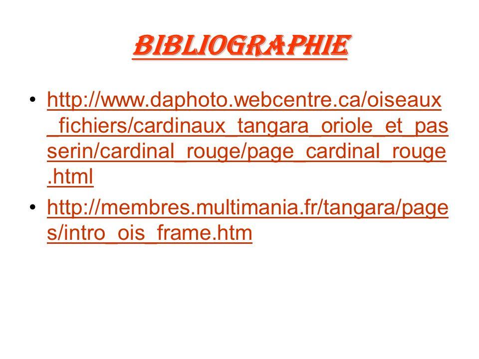 Bibliographie http://www.daphoto.webcentre.ca/oiseaux_fichiers/cardinaux_tangara_oriole_et_passerin/cardinal_rouge/page_cardinal_rouge.html.