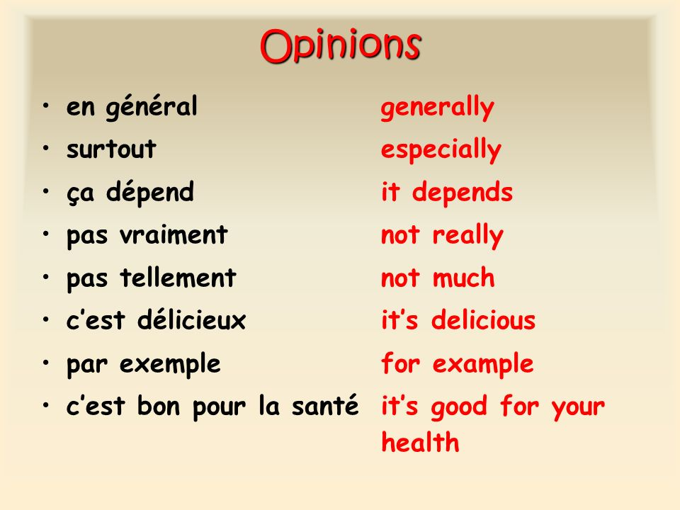 Opinions en général generally surtout especially ça dépend it depends