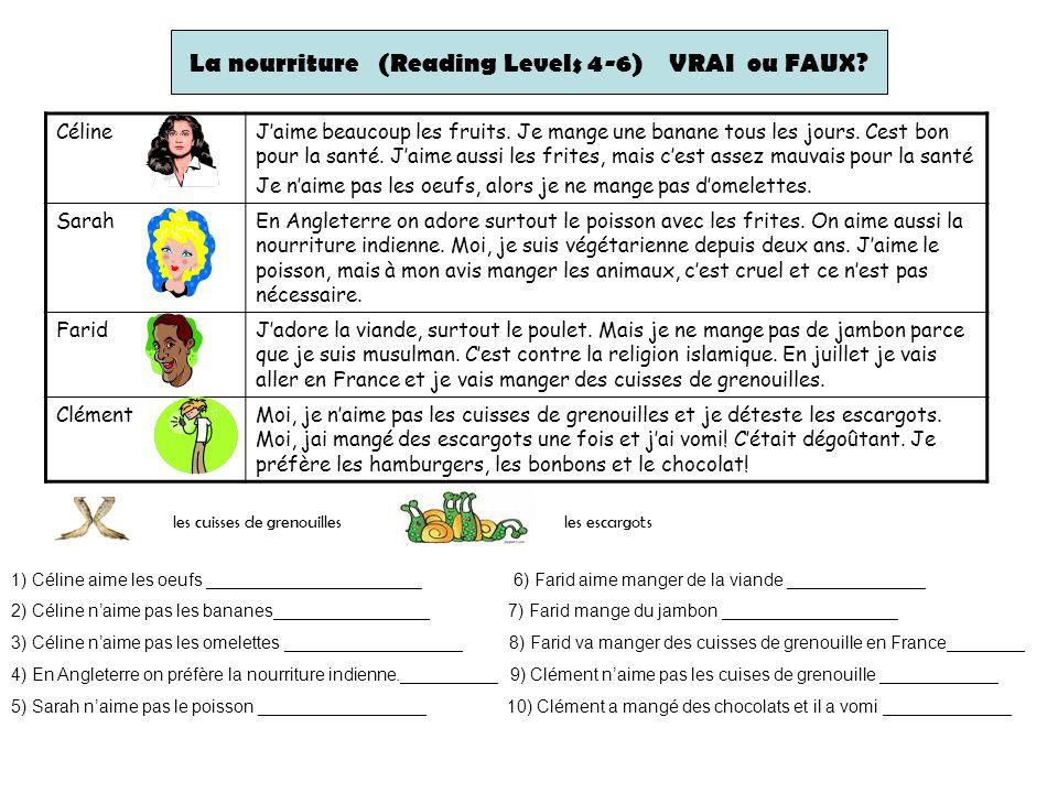 La nourriture (Reading Levels 4-6) VRAI ou FAUX