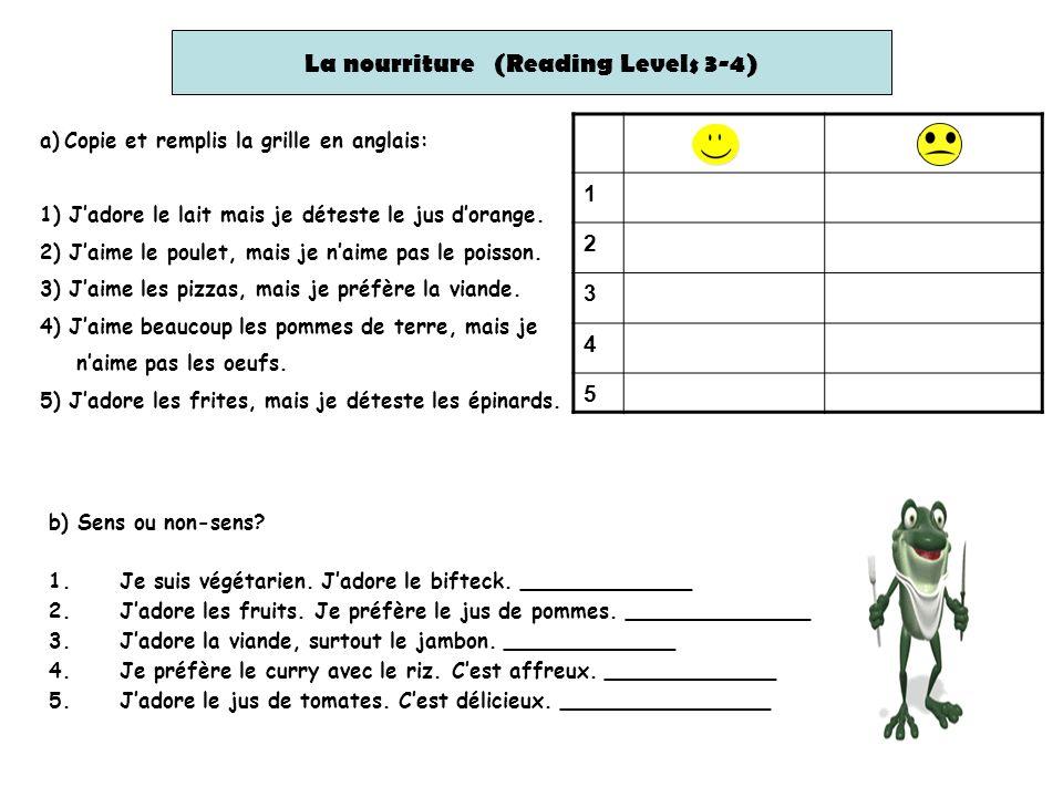 La nourriture (Reading Levels 3-4)