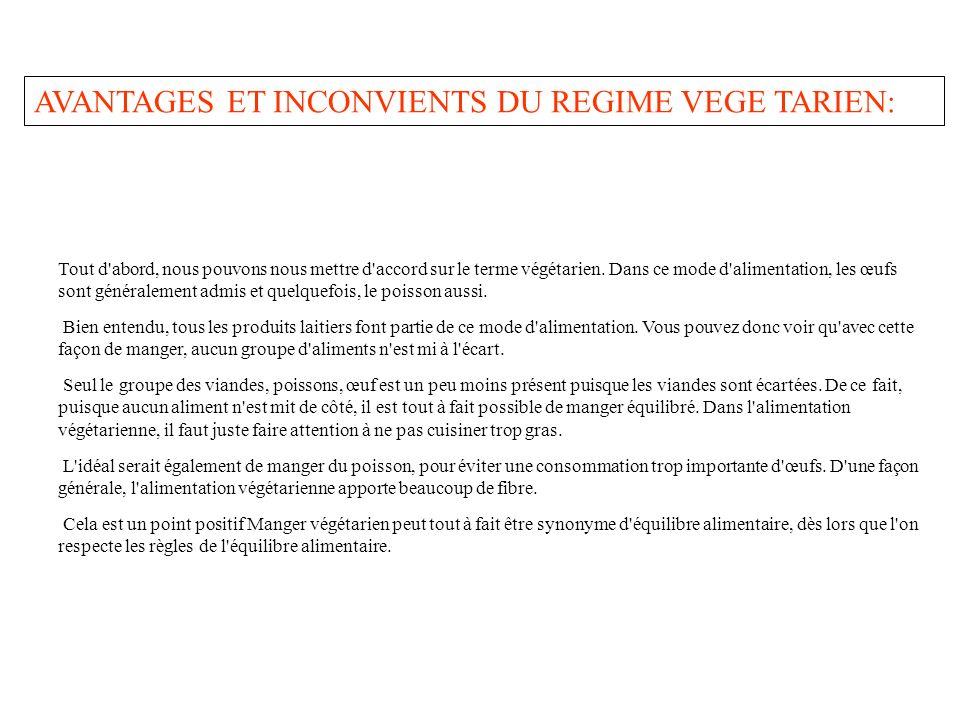 AVANTAGES ET INCONVIENTS DU REGIME VEGE TARIEN:
