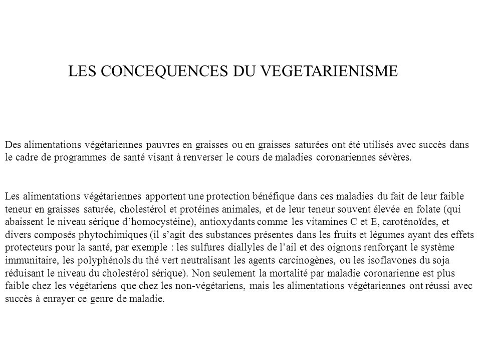 LES CONCEQUENCES DU VEGETARIENISME