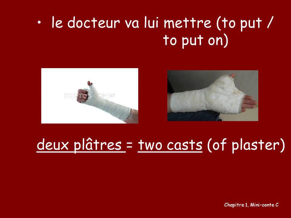 le docteur va lui mettre (to put / to put on)