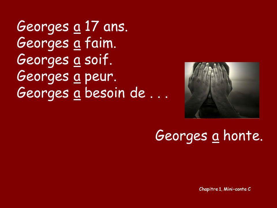 Georges a 17 ans. Georges a faim. Georges a soif. Georges a peur.