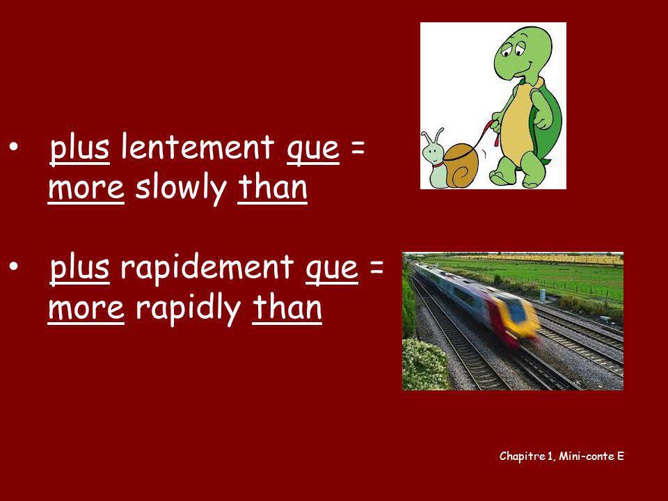 plus lentement que = more slowly than plus rapidement que =