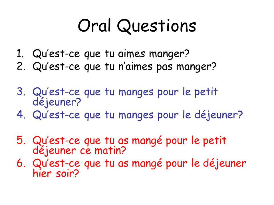 Oral Questions Qu'est-ce que tu aimes manger