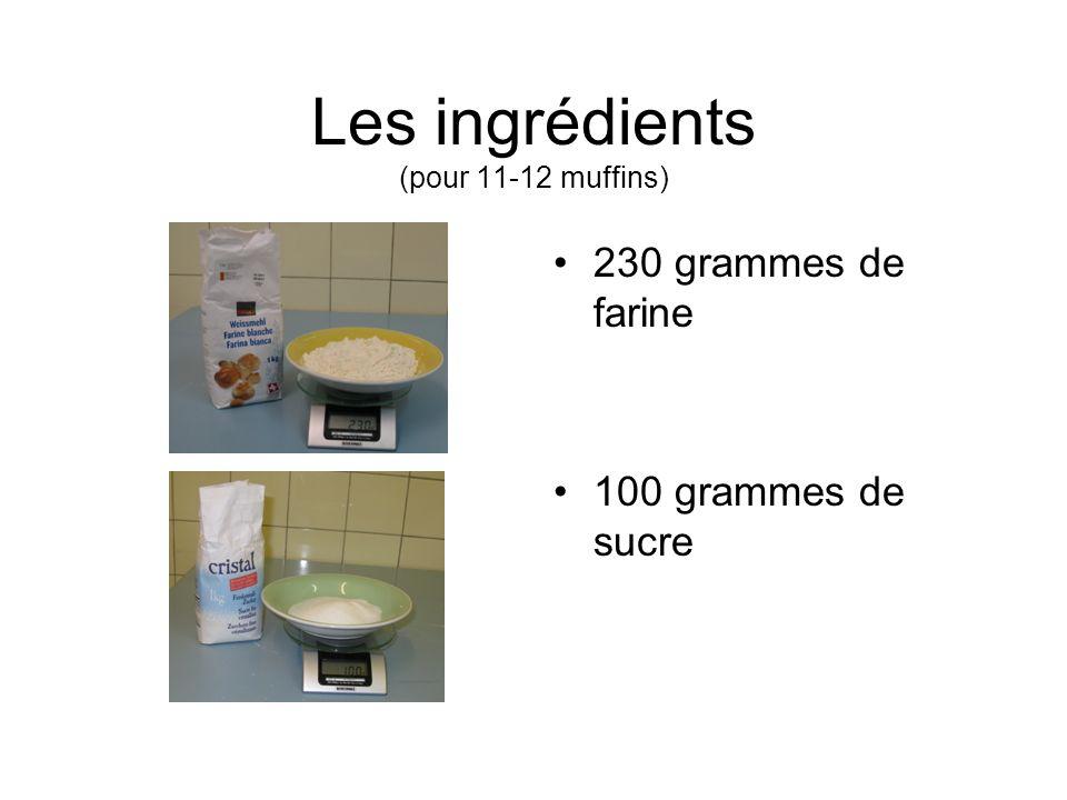Les ingrédients (pour 11-12 muffins)
