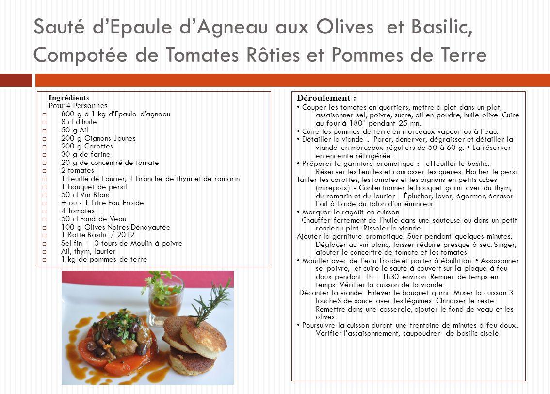 Sauté d'Epaule d'Agneau aux Olives et Basilic, Compotée de Tomates Rôties et Pommes de Terre