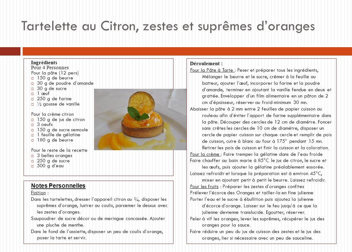 Tartelette au Citron, zestes et suprêmes d'oranges