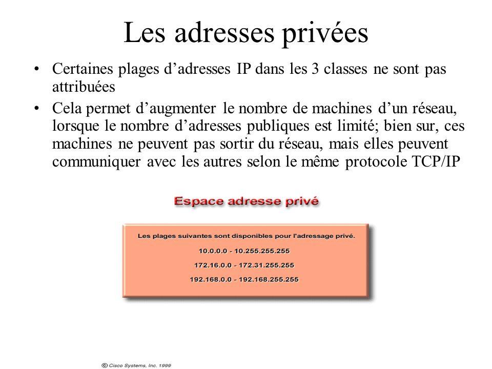 Les adresses privées Certaines plages d'adresses IP dans les 3 classes ne sont pas attribuées.
