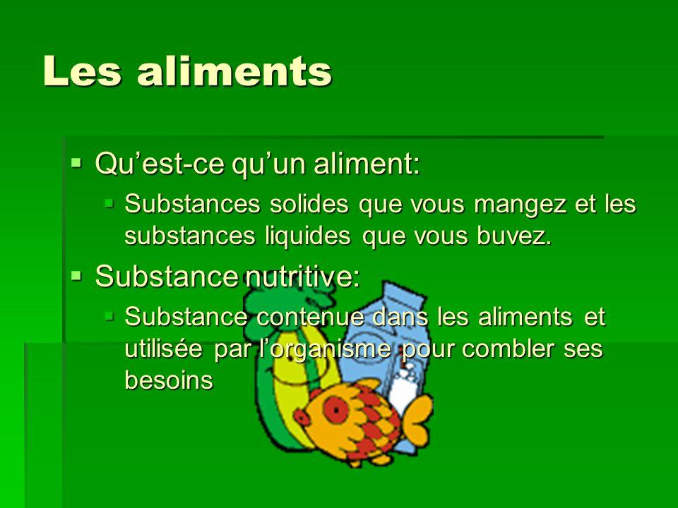 Les aliments Qu'est-ce qu'un aliment: Substance nutritive: