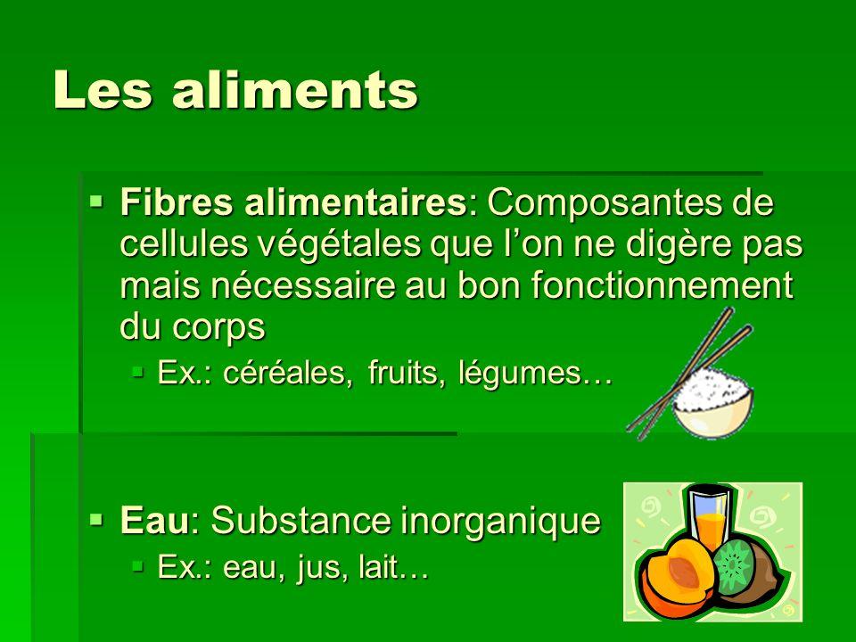 Les aliments Fibres alimentaires: Composantes de cellules végétales que l'on ne digère pas mais nécessaire au bon fonctionnement du corps.