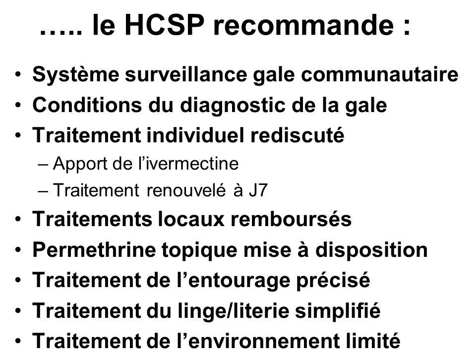 ….. le HCSP recommande : Système surveillance gale communautaire