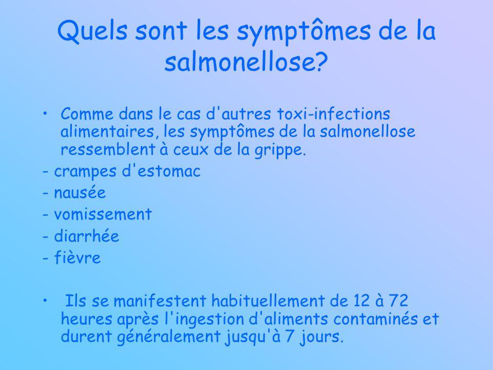 Quels sont les symptômes de la salmonellose