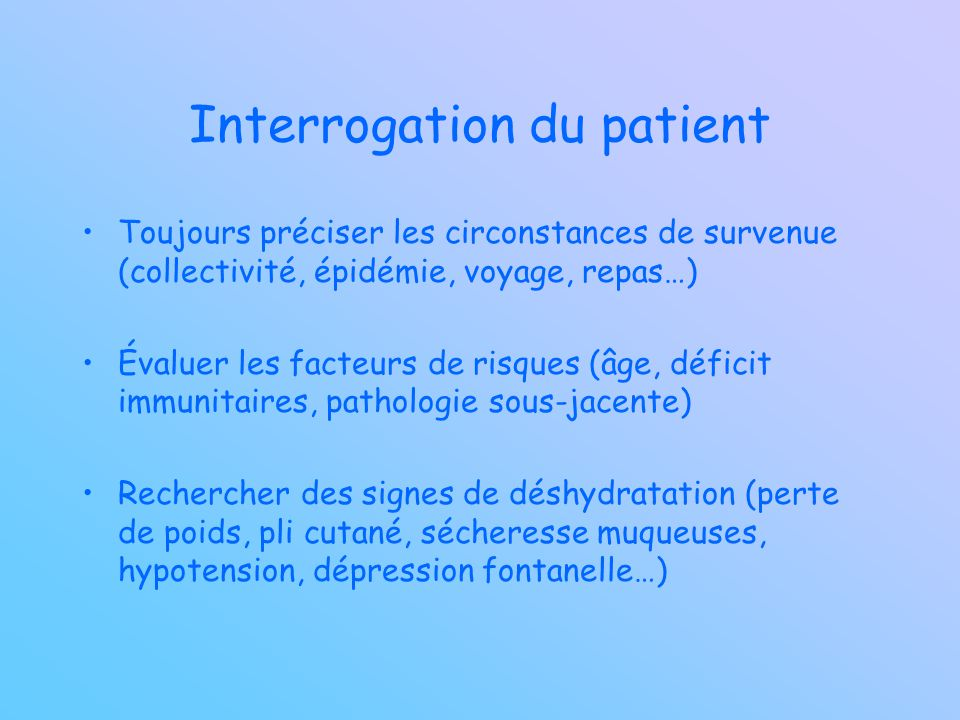 Interrogation du patient