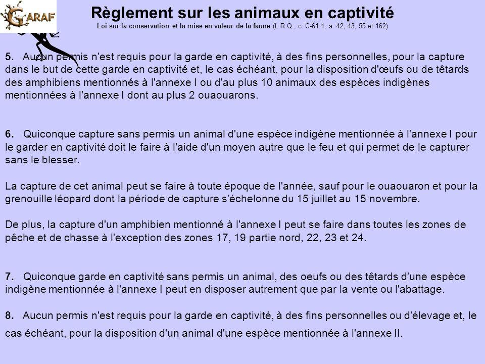 Règlement sur les animaux en captivité