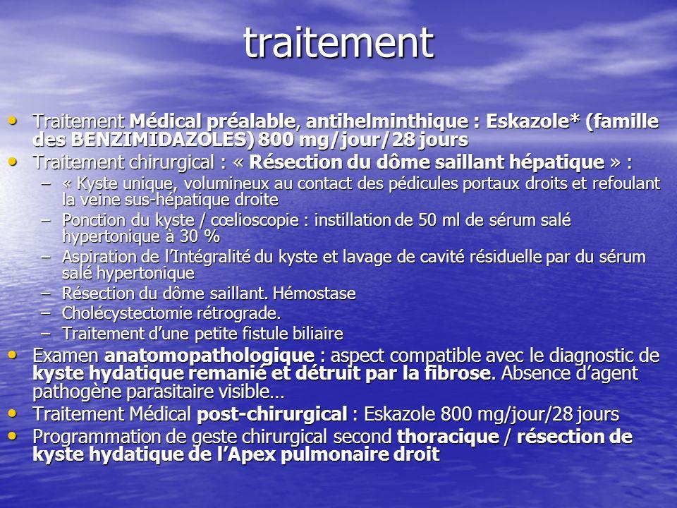 traitement Traitement Médical préalable, antihelminthique : Eskazole* (famille des BENZIMIDAZOLES) 800 mg/jour/28 jours.