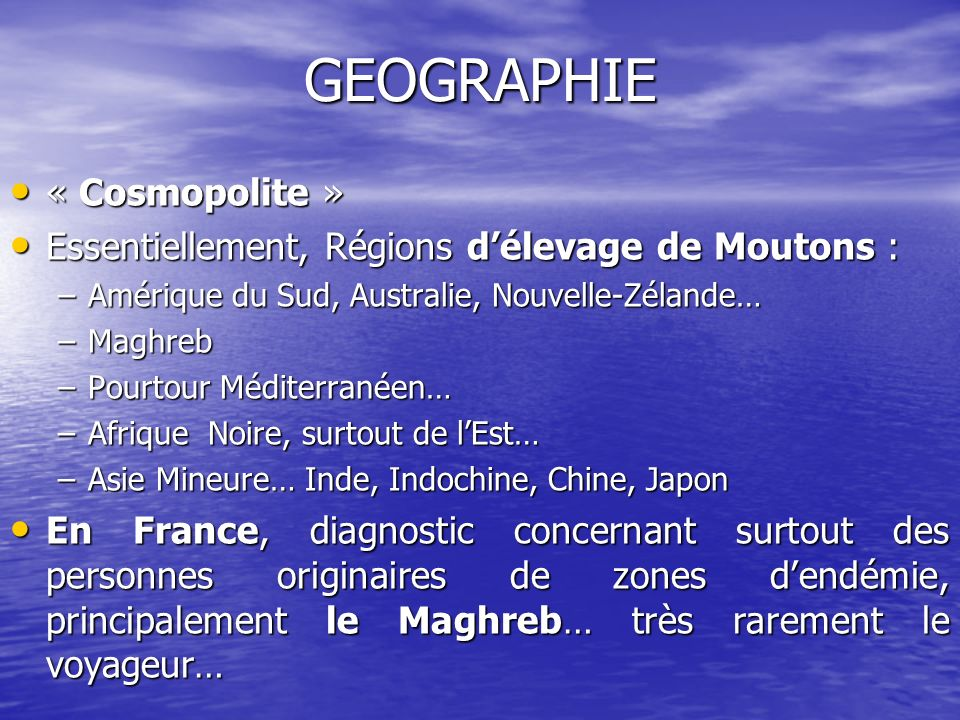 GEOGRAPHIE « Cosmopolite »