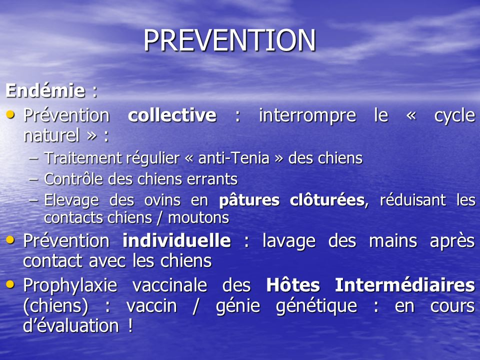 PREVENTION Endémie : Prévention collective : interrompre le « cycle naturel » : Traitement régulier « anti-Tenia » des chiens.