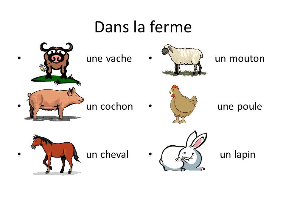 Dans la ferme une vache un cochon un cheval un mouton une poule