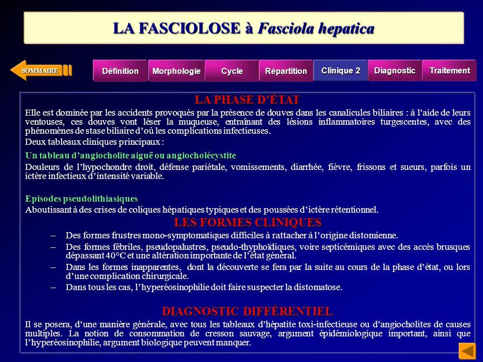 LA FASCIOLOSE à Fasciola hepatica DIAGNOSTIC DIFFÉRENTIEL