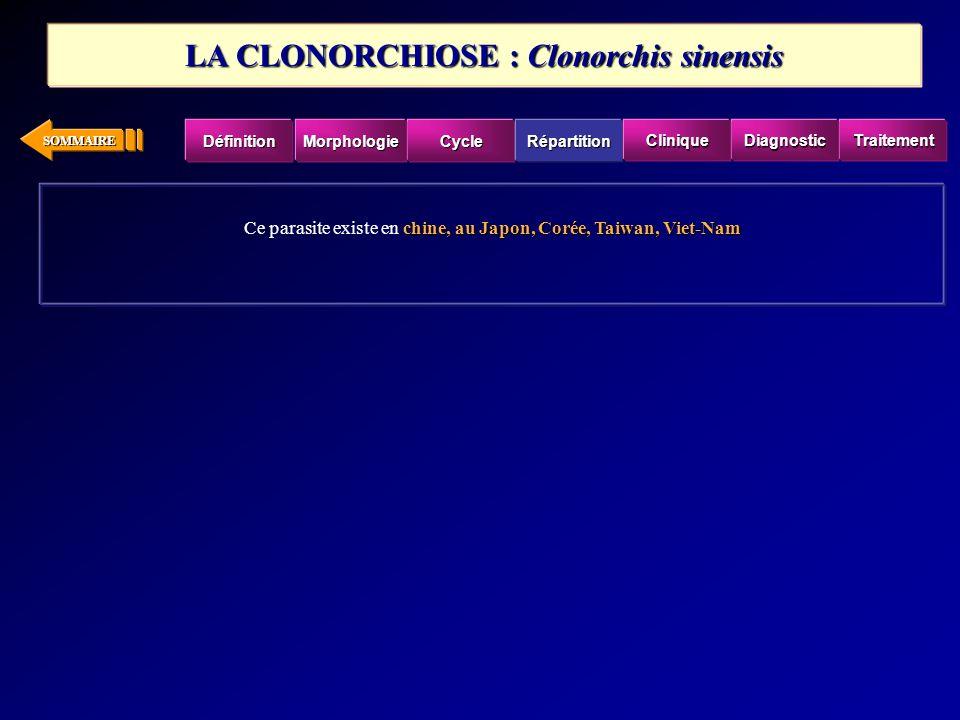 LA CLONORCHIOSE : Clonorchis sinensis