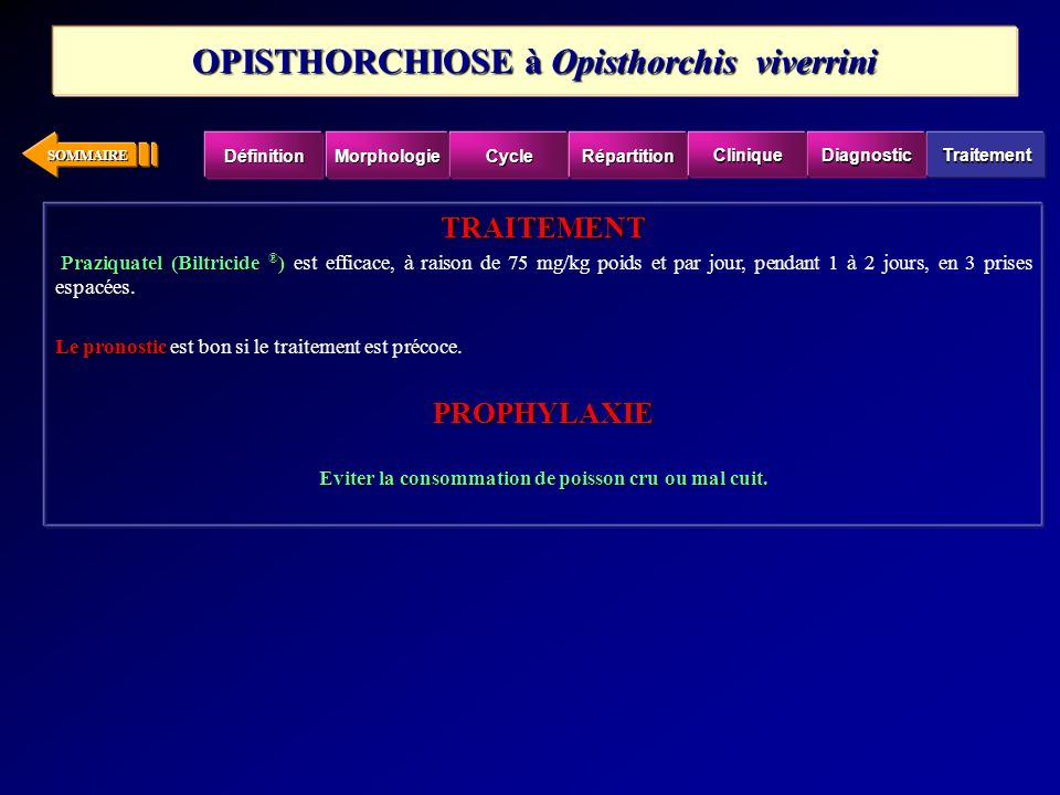 OPISTHORCHIOSE à Opisthorchis viverrini