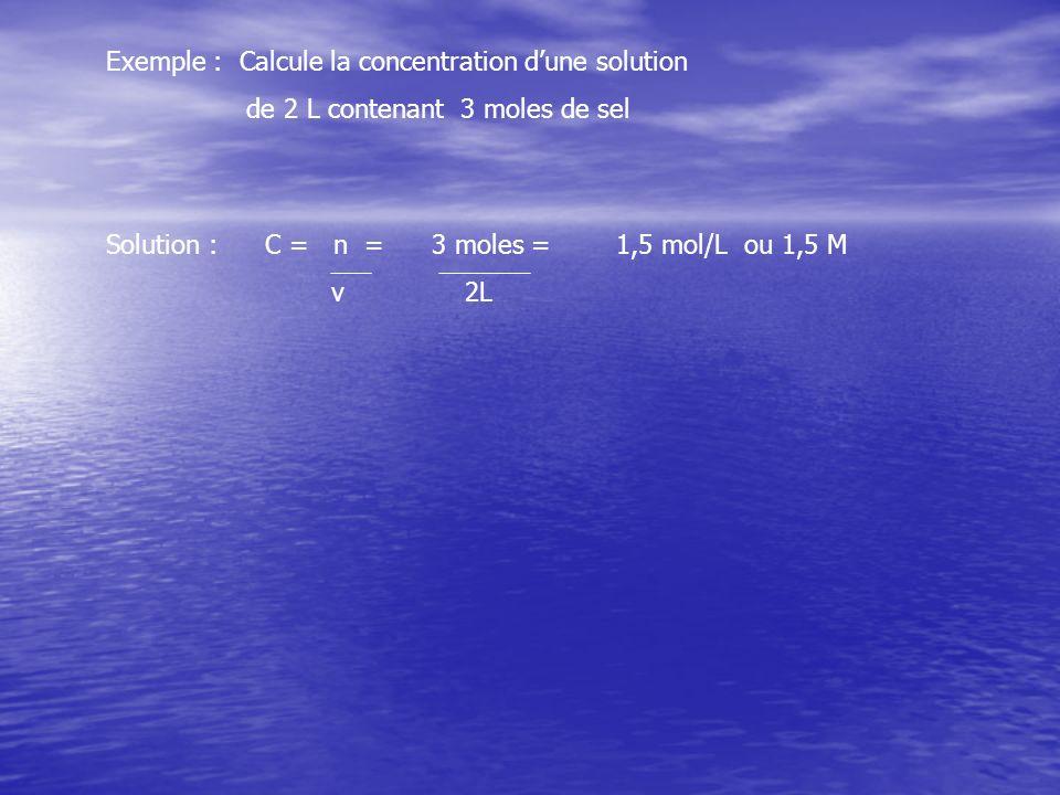 Exemple : Calcule la concentration d'une solution
