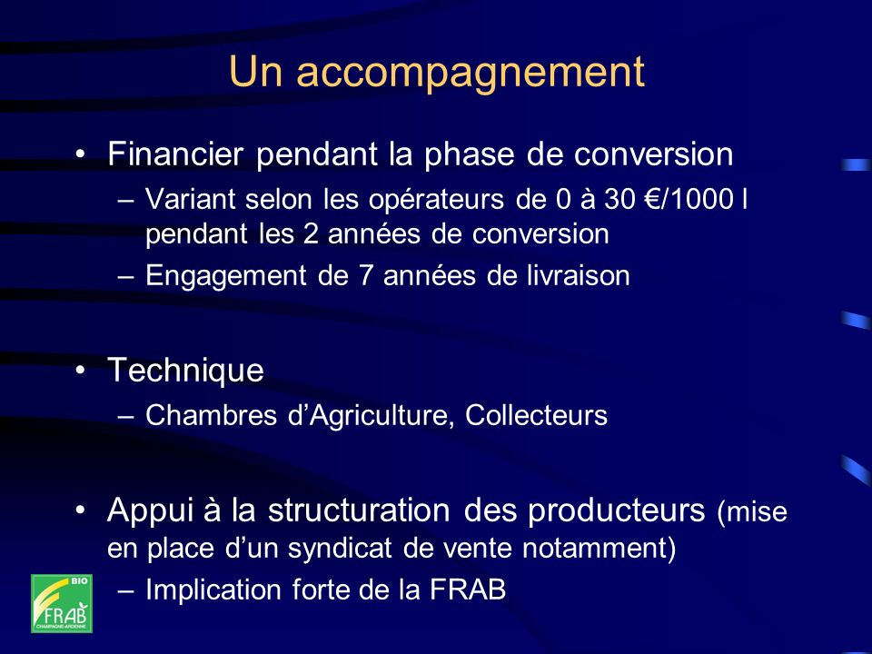 Un accompagnement Financier pendant la phase de conversion Technique