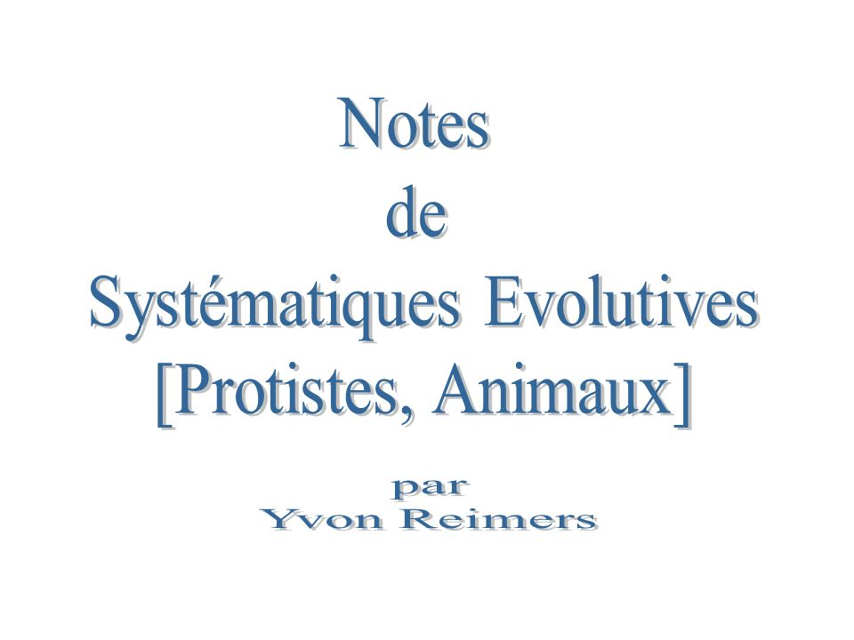Systématiques Evolutives