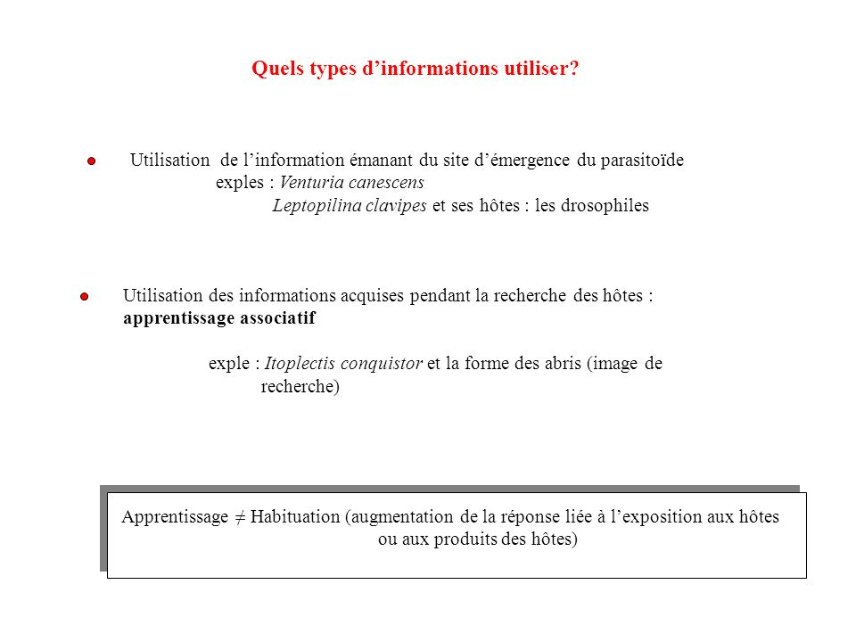 Quels types d'informations utiliser