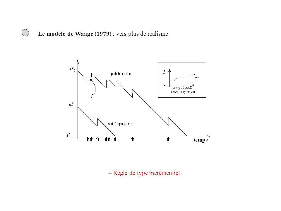 Le modèle de Waage (1979) : vers plus de réalisme