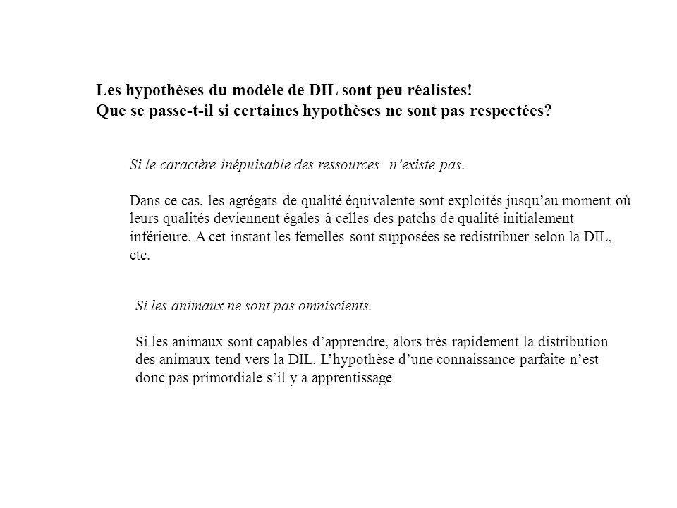 Les hypothèses du modèle de DIL sont peu réalistes!
